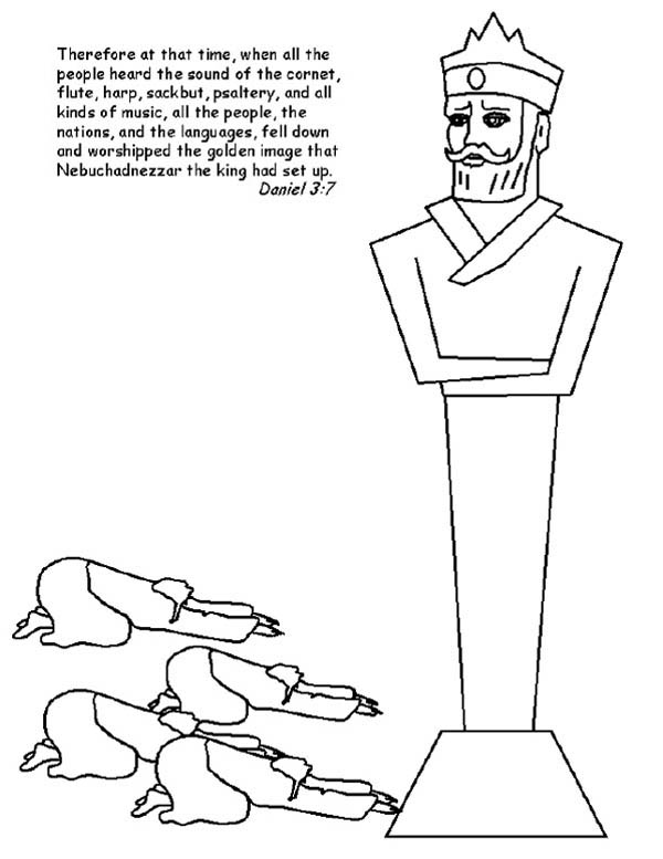 King Nebuchadnezzar, : People Worship King Nebuchadnezzar Statue Coloring Pages