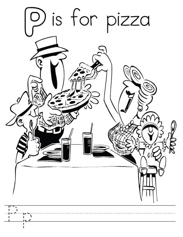 Letter p, : Pizza for Letter P Coloring Page