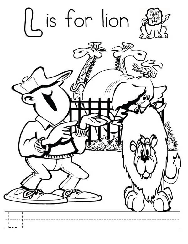 Letter l, : Preschool Kids Learn Letter L with Lion Coloring Page