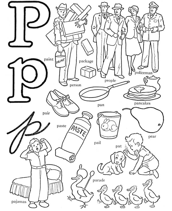 Letter p, : Preschool Kids Learn Letter P Coloring Page