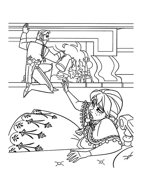 Hans, : Prince Hans Extinguish Fire with Water Coloring Pages