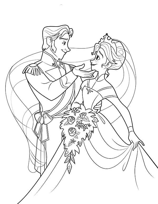 Hans, : Prince Hans Touch Princess Anna's Chin Coloring Pages
