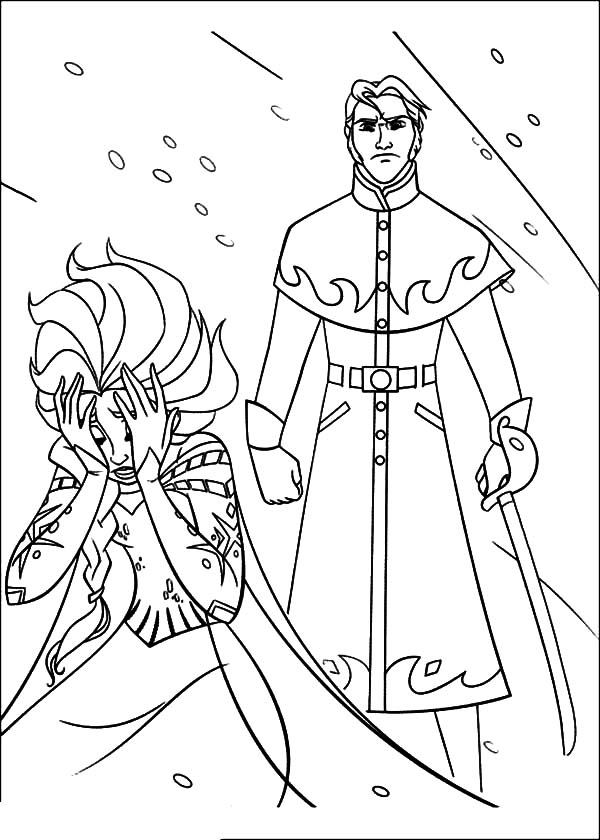Hans, : Prince Hans Want to Hurt Queen Elsa Coloring Pages