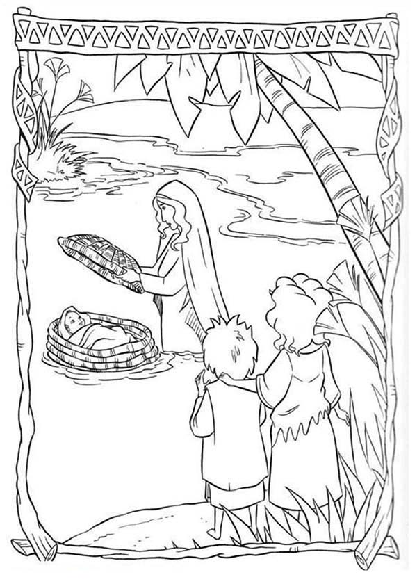 Prince Of Egypt, : Prince of Egypt Save by Pharaoh Sister from Nile River Coloring Pages