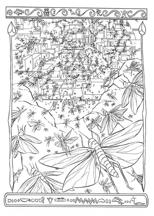 Prince of egypt the eight plague of egypt is locusts for Locust coloring page