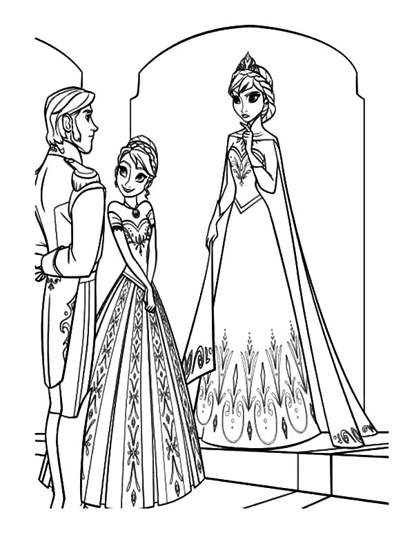 Hans, : Princess Anna Introducing Prince Hans to Queen Elsa Coloring Pages