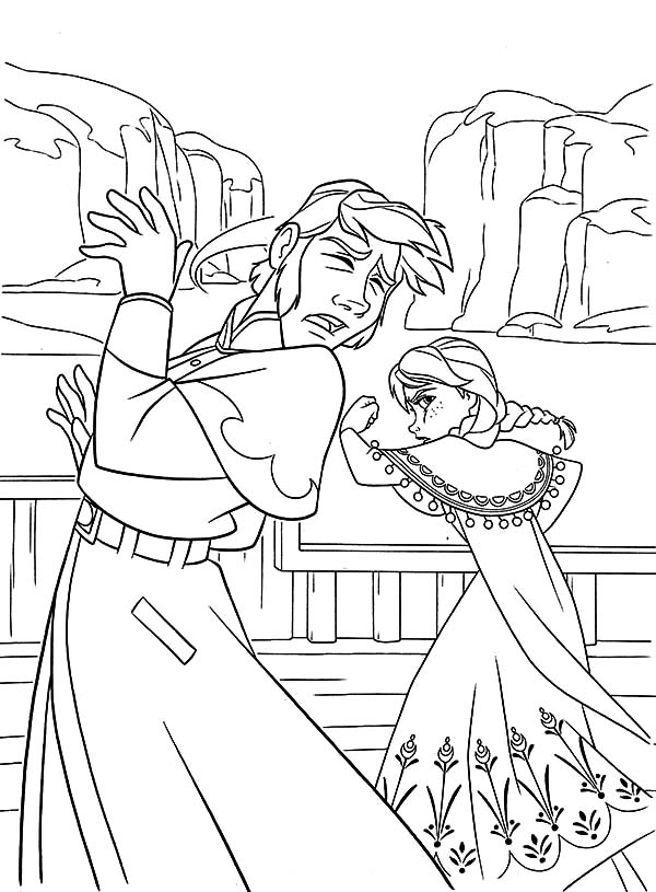 Hans, : Princess Anna Punch Prince Hans at His Face Coloring Pages