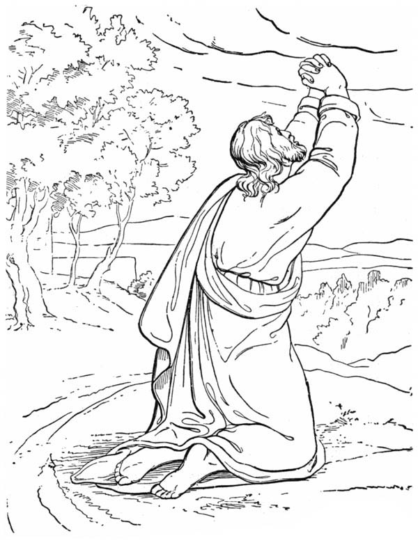 Elijah, : Prophet Elijah Praying to God Coloring Pages