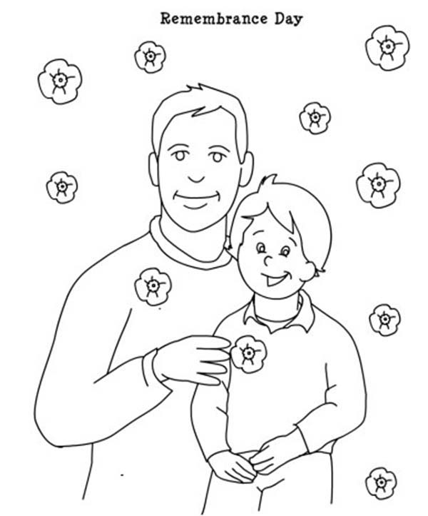 Remembrance Day, : Remembrance Day Father and Son Coloring Pages