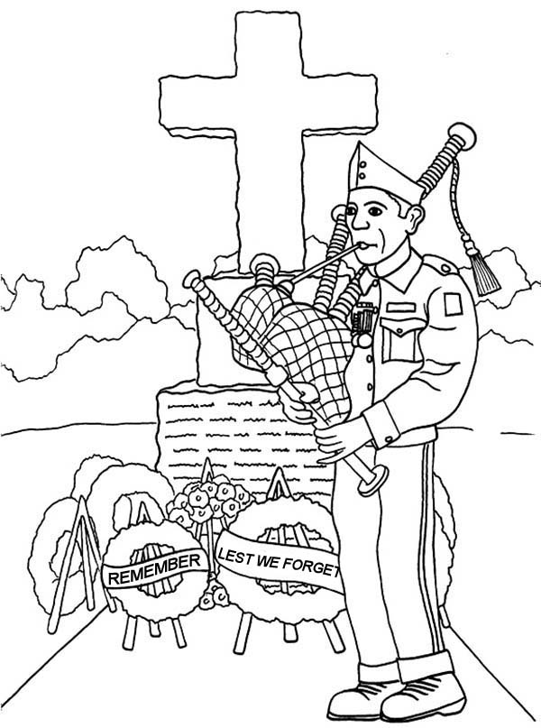 Remembrance Day, : Remembrance Day Music Player Coloring Pages