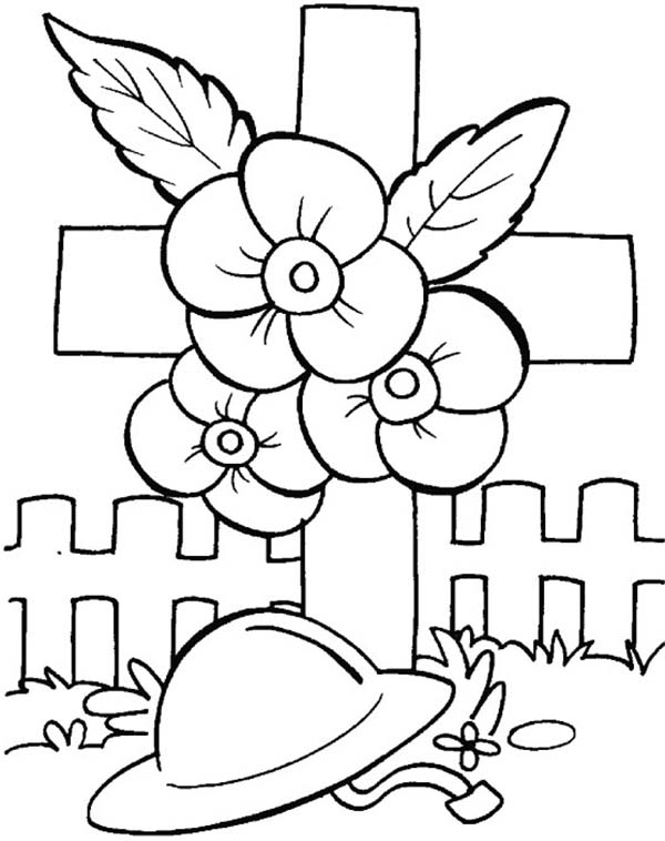 Remembrance Day, : Remembrance Day Poppies and Soldier Helmet Coloring Pages