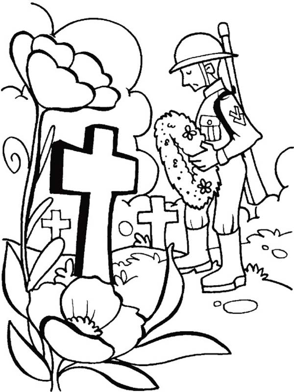 Remembrance Day, : Remembrance Day Putting Wreath Coloring Pages