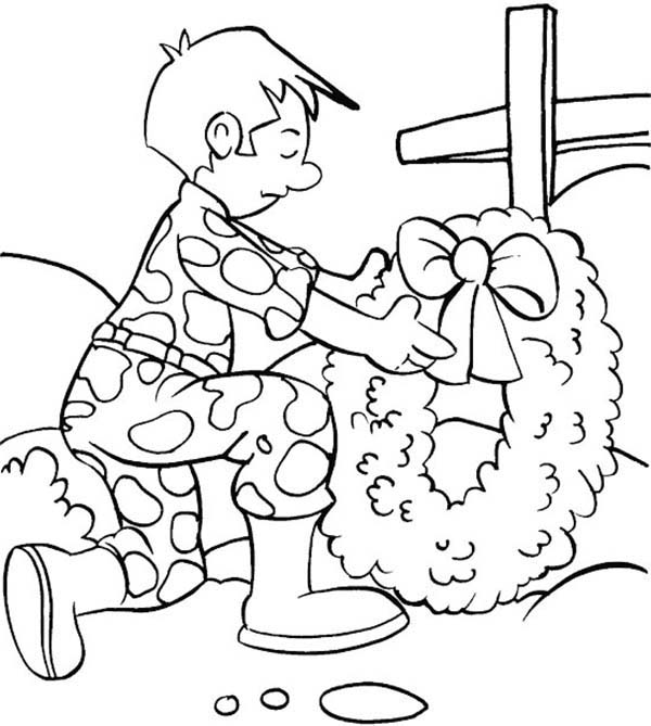Remembrance Day, : Remembrance Day Soldier Put a Wreath Coloring Pages