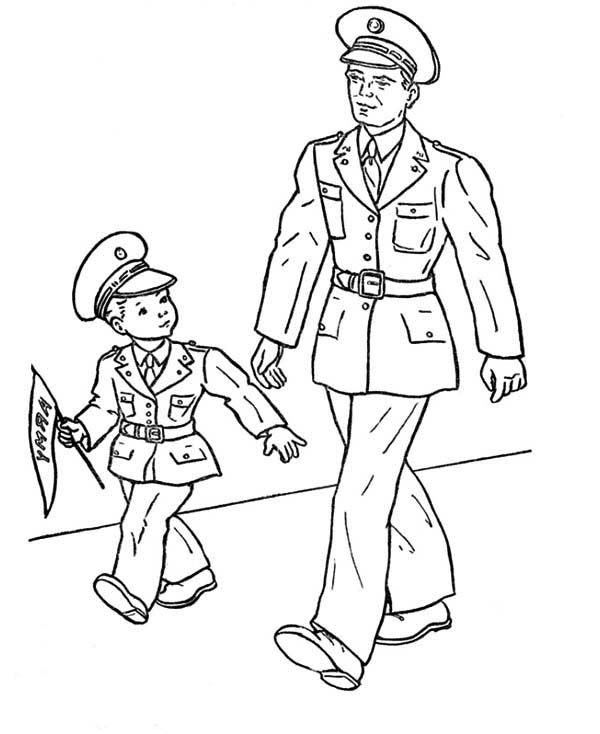 Remembrance Day, : Remembrance Day Taking Son Walking Coloring Pages