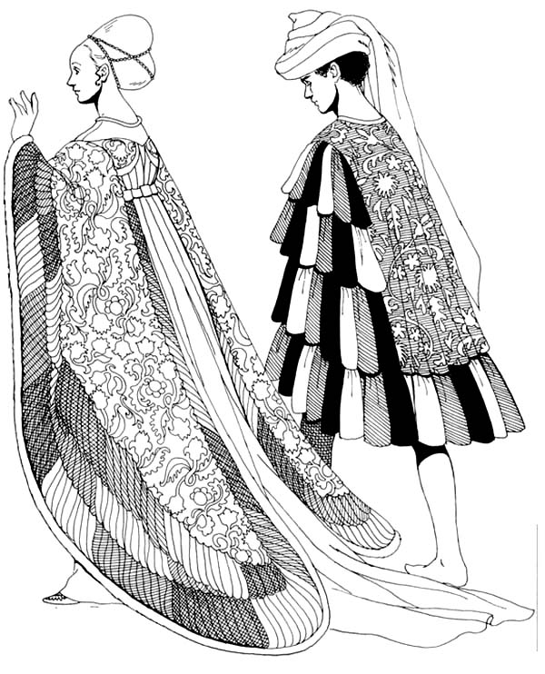 Renaissance, : Renaissance Beautiful Dress Coloring Pages