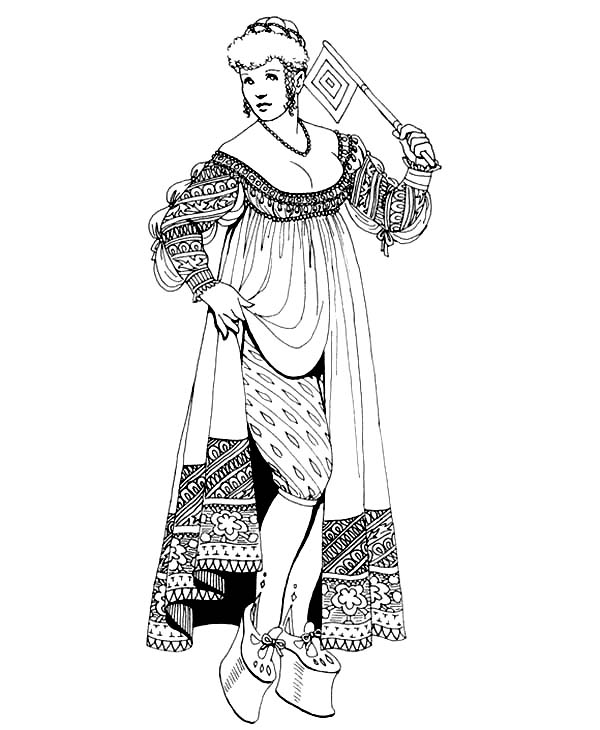 Renaissance, : Renaissance Fashion Trend Coloring Pages