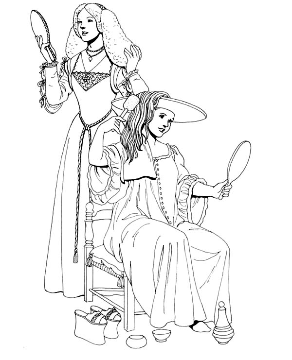 Renaissance, : Renaissance Girl Dress Up Coloring Pages