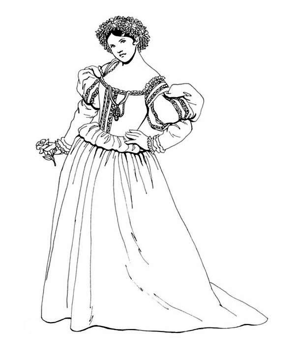 Renaissance, : Renaissance Lady Posing Coloring Pages