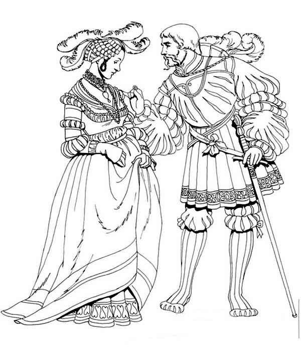 Renaissance, : Renaissance Man Try to Seduce a Girl Coloring Pages