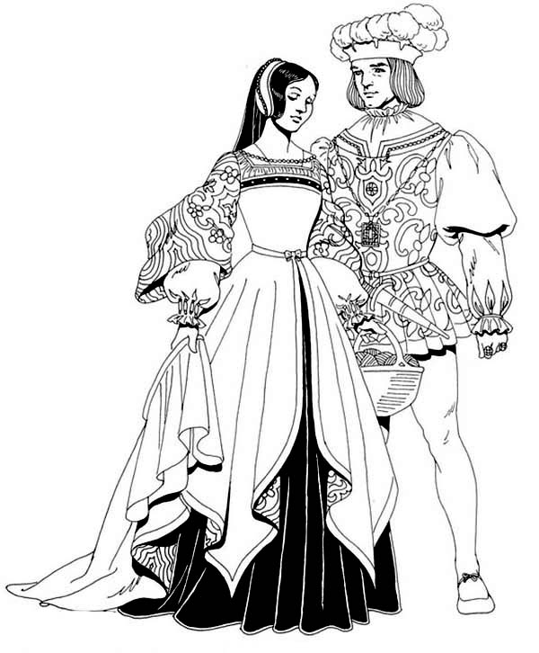 Renaissance, : Renaissance Married Couple Coloring Pages