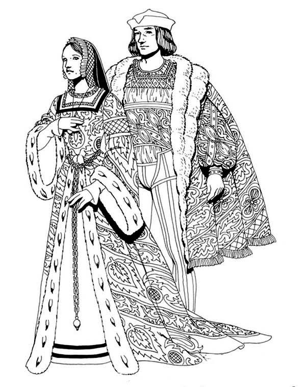 Renaissance, : Renaissance Royal Family Coloring Pages