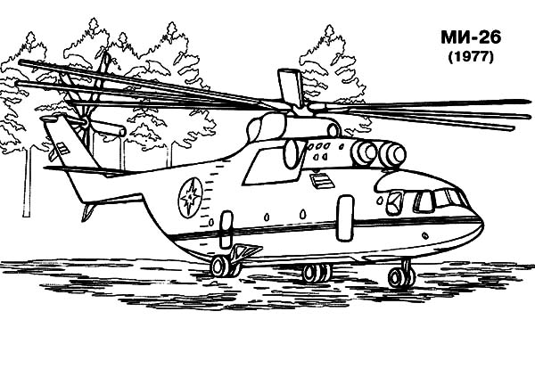 Helicopter, : Russian Helicopter MN 26 Coloring Pages