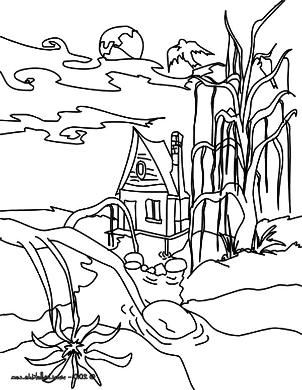 Haunted House, : Scarry Scenes Haunted House Coloring Pages