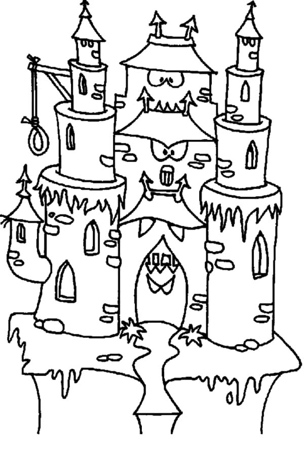 Haunted House, : Scary Haunted Castle with Haunted House Hangman Rope Noose Coloring Pages