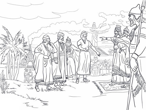 King Nebuchadnezzar, : Shadrach Meshach and Abednego Before King Nebuchadnezzar Coloring Pages