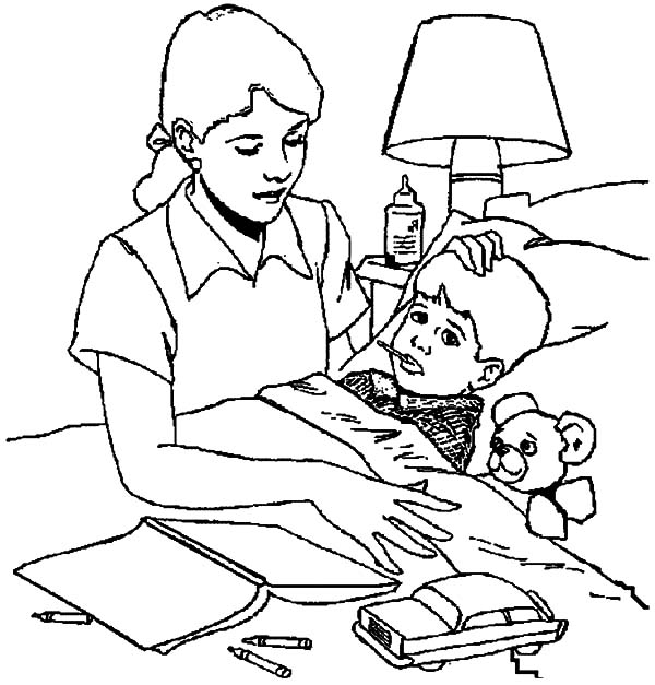 Health, : Sick Boy Eat Medicine for His Health Coloring Pages