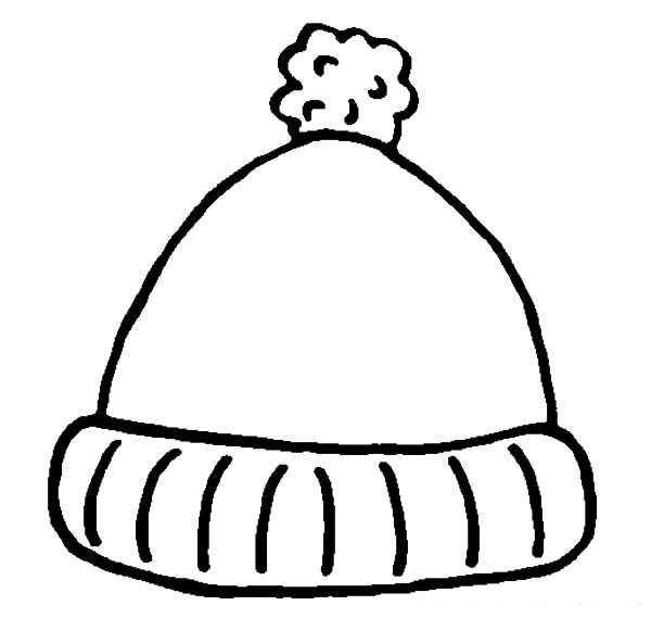 Hat, : Simple Winter Hat Coloring Pages