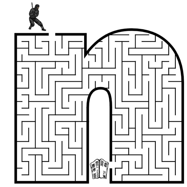 Letter n, : Small Letter N Maze Coloring Page