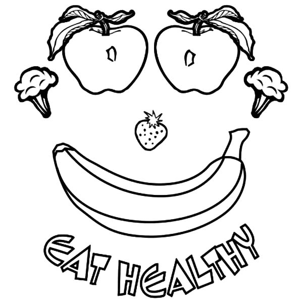 Healthy Eating, : Smiling Healthy Eating Coloring Pages
