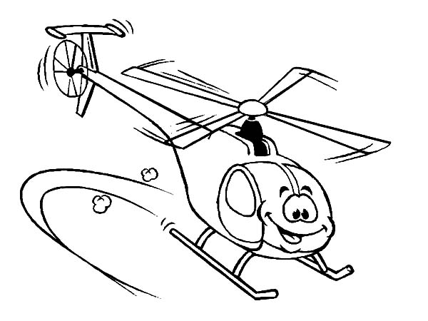 Helicopter, : Smiling Helicopter Coloring Pages