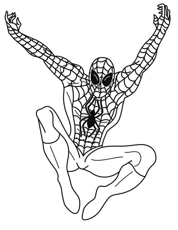 Spiderman, : Spiderman Awesome Jumper Coloring Page