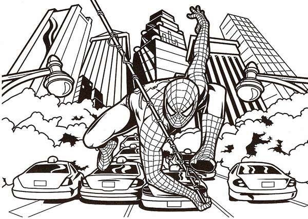 Spiderman, : Spiderman Helping Police Fight Crime Coloring Page