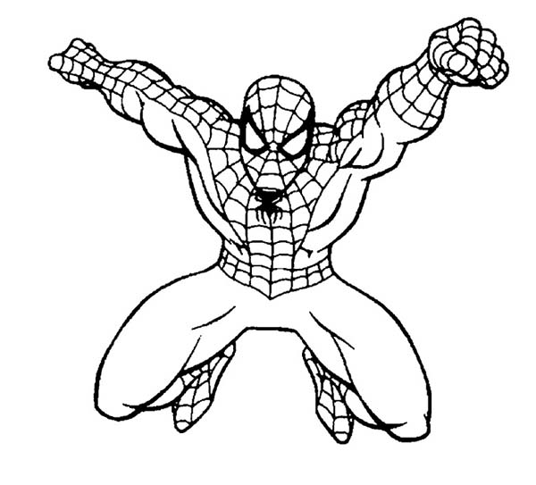 Spiderman, : Spiderman Punching Coloring Page
