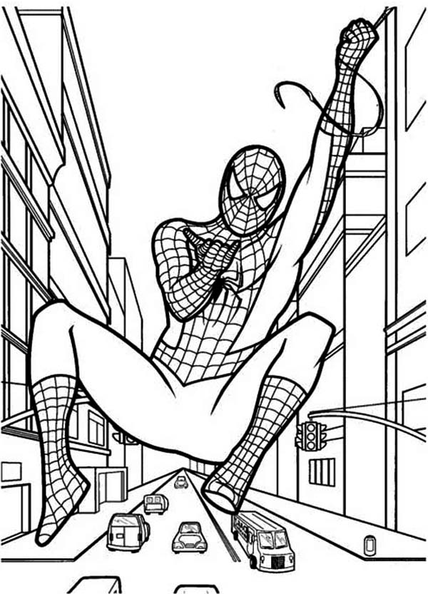 Spiderman, : Spiderman Swinging to Another Building Coloring Page