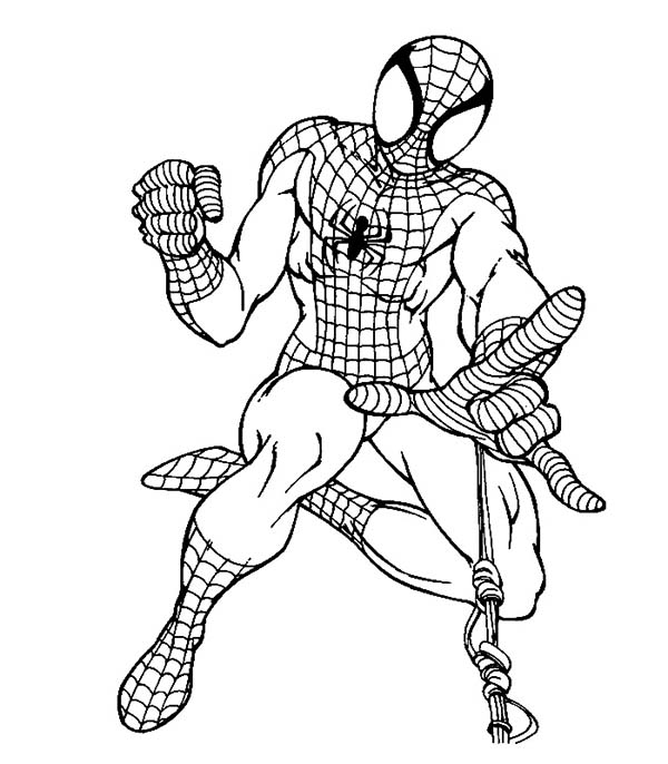 Spiderman, : Spiderman Using Web Shooter Coloring Page