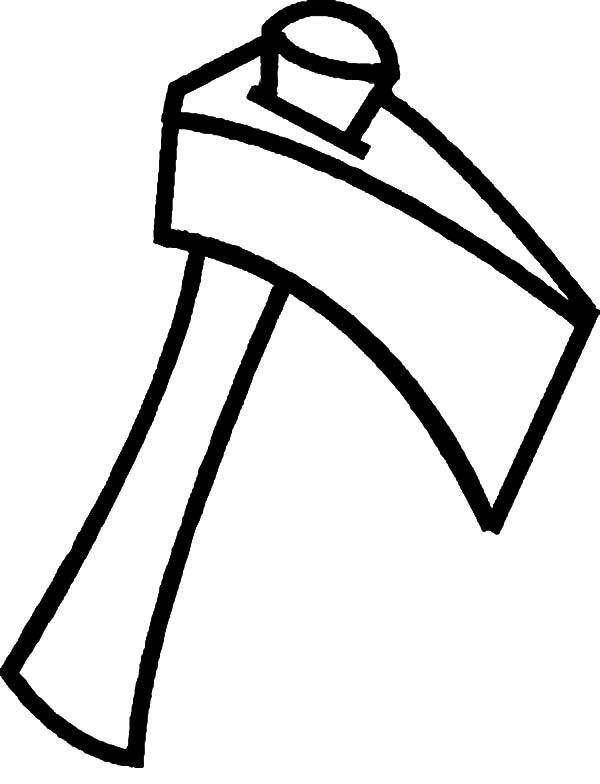 hatchet, : Split Wood with Hatchet Coloring Pages