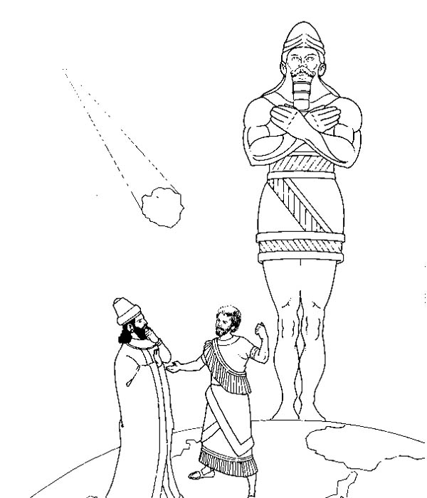 King Nebuchadnezzar, : Statue of King Nebuchadnezzar and Meteor Coloring Pages
