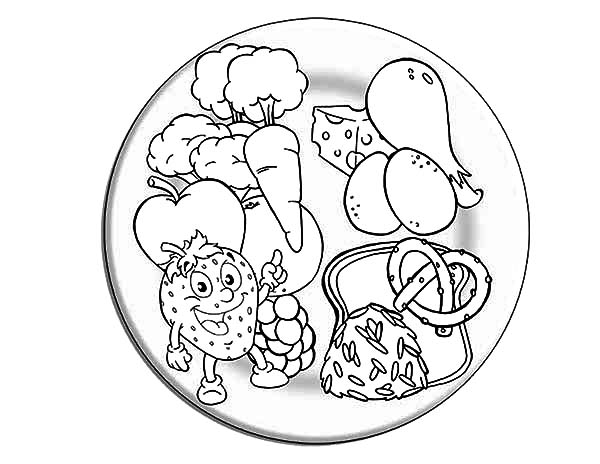 Healthy eating coloring pictures murderthestout for Coloring pages food