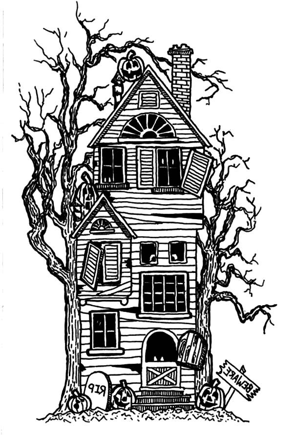 Haunted House, : Terrifying Haunted House Coloring Pages