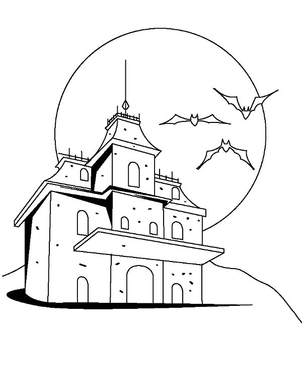 Haunted House, : Terrifying Three Bats Haunted House Coloring Pages