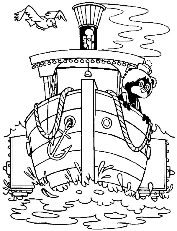 The Bearboat, : The Bearboat Heading to Dock Coloring Pages