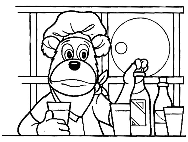 The Bearboat, : The Bearboat in the Kitchen Coloring Pages