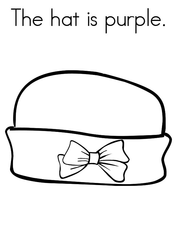 Hat, : The Hat is Purple Coloring Pages