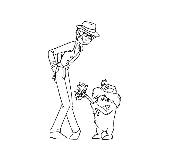 The Lorax, : The Lorax Arguing with the Once-ler Coloring Pages