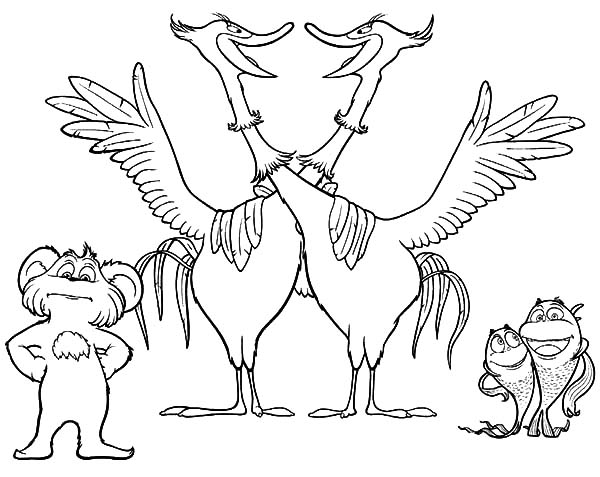 The Lorax, : The Lorax Movie Animal Characters Coloring Pages