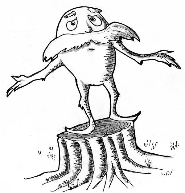The Lorax, : The Lorax is Sad He Cannot Protect the Tree Coloring Pages
